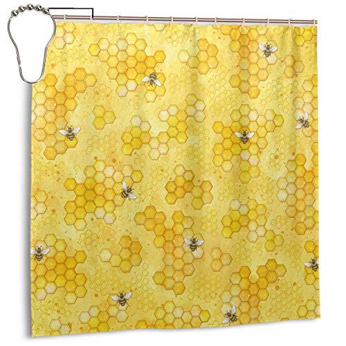 Jacklee Meant to Bee Honey Bees Pattern Duschvorhang 180 * 180cm Anti-Schimmel & Wasserabweisend Shower Curtain mit 12 Duschvorhangringen 3D Digitaldruck
