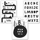 Frechdax® 3er Set Kinderzimmer Poster Babyzimmer DIN A4 ohne Bilderrahmen | Mädchen Junge | Kinderposter Kunstdruck im skandinavischen Stil | schwarz/weiss oder bunt | Set-05