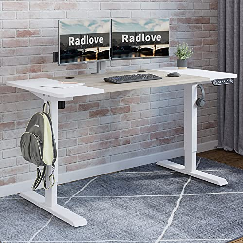Electric Height Adjustable Standing Desk, Radlove 55 x 24 Inches Stand Up Desk Workstation, Splice Board Home Office Computer Standing Table Ergonomic Desk (White Frame + 55' White+Maple Top)