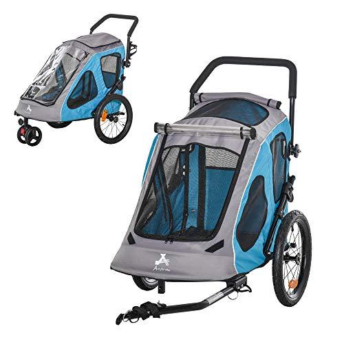 Pawhut 2-in-1 Fahrradanhänger Haustier Hundeanhänger Oxfordstoff Atmungsaktiv Metall Oxford-Gewebe Blau 140 x 71 x 105 cm