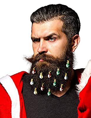 Beardaments Beard Ornaments - The Original 12pc Colorful Christmas Facial Hair Baubles for Men in The Holiday Spirit, Easy Attach Mini Mustache, Sideburns, Festive Red, Green, Gold, Silver Mix