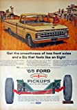 1965 Ford Pickup, 60's Full Page Color Illustration, 10 1/2' x 13 1/2' Print Ad. (truck,horses,cowboys and cowgirl) Original Vintage 1965 Life Magazine Print artstore link [www.amazon.com/shops/ads-thru-time]
