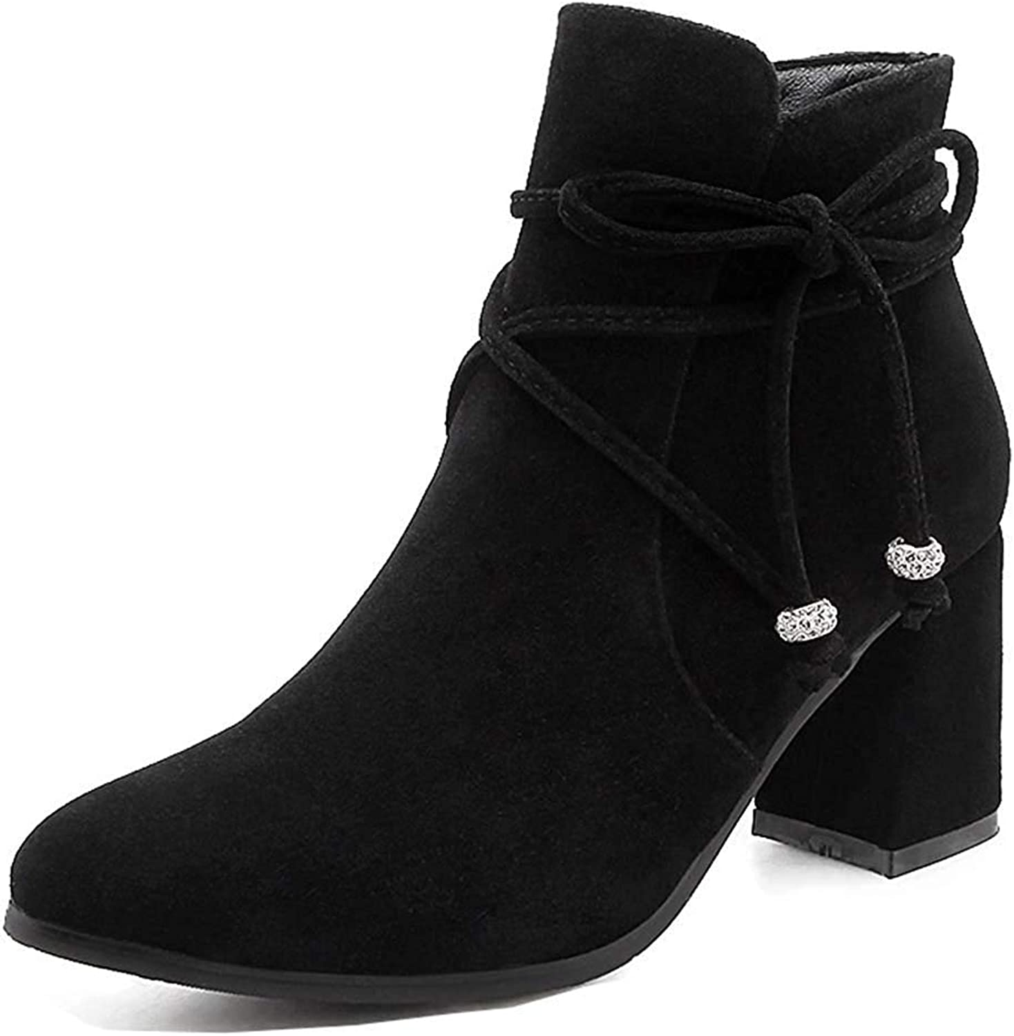 Unm Women's Trendy Strappy Pointed Toe Dress Short Boots Chunky High Heel Ankle Booties with Zipper