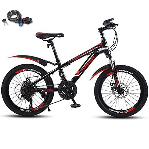 Bicicleta montaña 20 pulgadas con bloqueo bicicleta, suspensión doble 21 velocidades Engranajes MTB de suspensión completa Frenos disco doble Bicicleta montaña para niños Bicicleta 10-13 años,Rojo