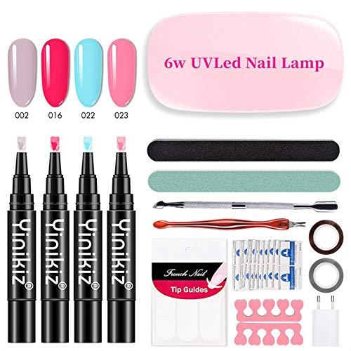 BALALALA One Step UV Kit de Esmalte de uñas en Gel 3 en 1 Soak OffUV LED Barniz de uñas Forma de la Pluma Nail Art Set No es Necesario aplicar una Capa Superior de Base Barniz de Gel(4 Colores )