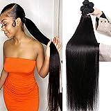 10A Straight Human Hair Bundles (20 22 24 26 Inch) 100% Virgin Brazilian Hair 4 Bundles Straight Weave Hair Human Bundles Unprocessed Remy Hair Bundles