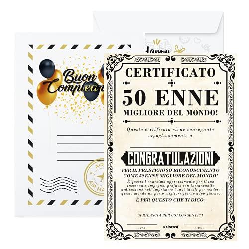 Idee Regalo per Compleanno - Certificato 50 Enne Migliore del Mondo - Idea Regali Compleanno per Lui e Lei