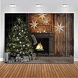Fiesta de Navidad de Mehofoto Telón de Fondo Chimenea Árbol de Navidad Caja de Regalo Estrella...