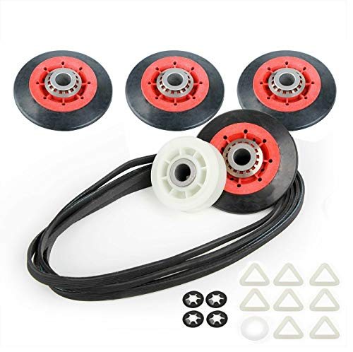 Dryer Repair Kit Drum Roller Idler Pulley Belt Fit For Maytag 3000 Series MEDE500VW1 MEDE300VW1 MEDC215EW1 MED9600SQ0 MED9700SQ0 MEDX500XW0 MEDC700VW0 MEDX600XW0 MGDE500VW2 MGDB850YG1 MEDX700XW0