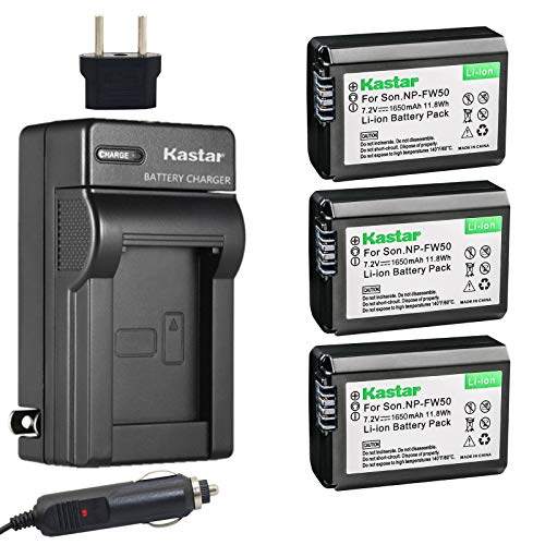 Kastar NP-FW50 Battery(3-Pack) and Charger for Sony BC-VW1 BC-TRW and Alpha 7 a7 a7R a3000 a5000 a6000 NEX-3 3N NEX-5 5N 5R 5T NEX-6 NEX-7 NEX-C3 NEX-F3 SLT-A33 A35 A37 A55V DSC-RX10 Camera