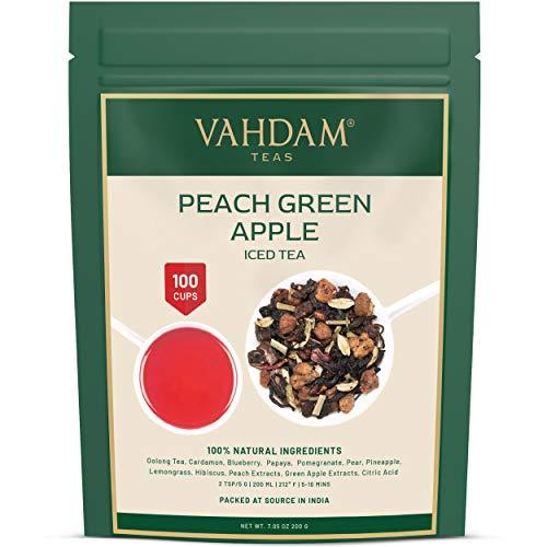 VAHDAM, té helado de manzana verde melocotón   40 porciones, 8 cuartos   Ingredientes 100% naturales   Sabor del té Oolong y frutas tropicales   Té helado de durazno   100gr (Set de 2) de la India