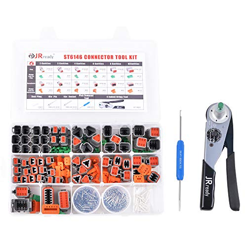 JRready ST6146 DT Connector Kit,2-12 Pin Gray 368 PCS Connector Deutsch Solid Terminal Contact/4 Indent 8 Impression Deutsch Crimping Tool ACT-M202 for 12-22AWG/Deutsch Connector Removal Tool DRK-RT1