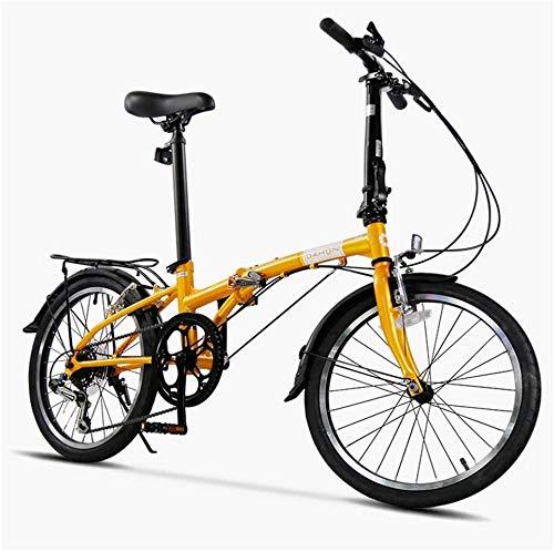 """Aoyo 20"""" Faltrad, Erwachsene 6 Geschwindigkeit Leichtgewichtler Folding Fahrrad, leichte, tragbare, High-Carbon Stahlrahmen, Klapp City Bike mit Heck Carry-Rack (Color : Beige)"""
