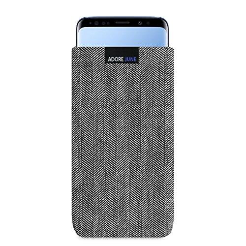 Adore June Business Tasche für Samsung Galaxy S9 Plus / S9+ Handytasche aus charakteristischem Fischgrat Stoff - Grau/Schwarz | Schutztasche Zubehör mit Bildschirm Reinigungs-Effekt | Made in Europe