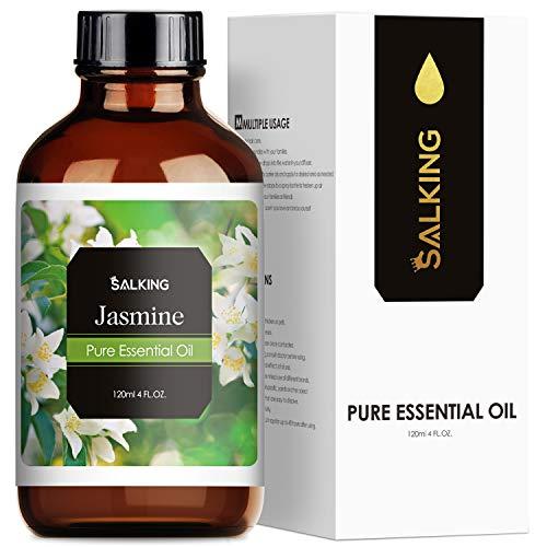 SALKING Jasminöl 120ml, 100% Bio Jasmin ätherisches öl für Aroma Diffuser, Aromatherapie Duftöl für Duftlampen Luftbefeuchter, Massage, Seife, Kerzenherstellung, Parfüm, Geschenke für Frauen