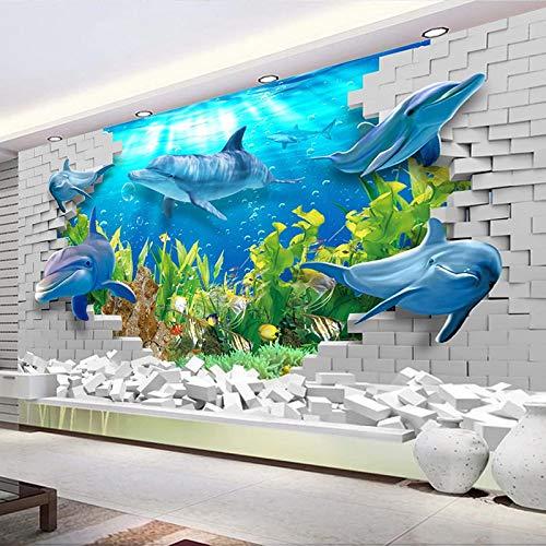ZPDM 3D No Tejido o Vinile 15 tamaños Papel Pintado De La Pared Pelar y Pegar Mural - Mundo submarino delfines peces pared de ladrillos - Foto Papel Tapiz Sala De Estar Mural De Pared Papel Póster Ima