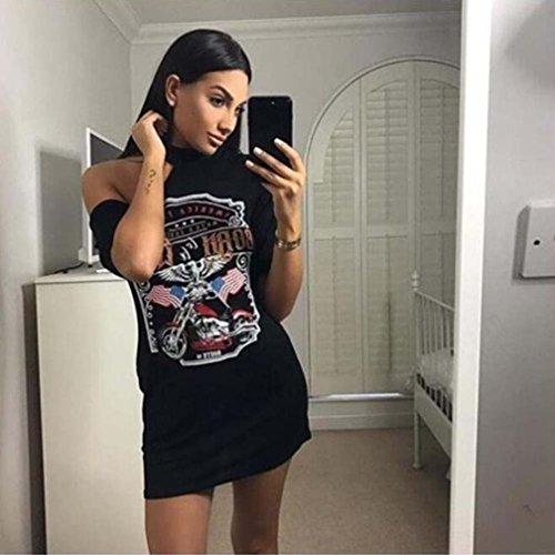 Vestidos Sexy Mujer Verano 2018,Sonnena La Vendimia de Las Mujeres del Hombro Estilo Rock Camiseta Larga Mini Vestido de Cóctel Fiesta Citas Verano para Chica Joven