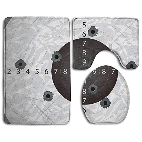 NEWpapa Military Gun Bullet Holes On Paper Target Army Weapon Danger Violence Themed Bathroom Rug 3 Piece Bath Mat Set Contour Rug and Lid Cover