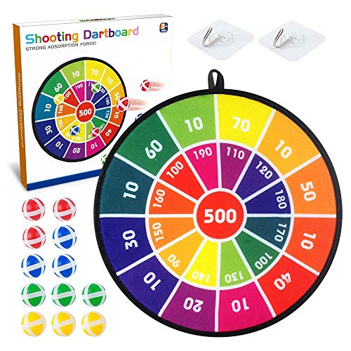 BAODLON Kids Dart Board Game Set - 14 Inches Dart Board for Kid with 12 Sticky Balls - Darts Board Set with Colorful Box- Safe Darts Board Game Gift Toy for 3  4  5  6  7  8-12 Years Old Kid Boy Girl