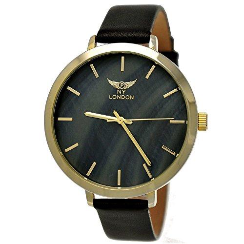 Elegante NY London Damen-Uhr Analog Quarz Leder Armband-Uhr Klassisches Design Schwarz Gold mit Perlmutt Ziffernblatt