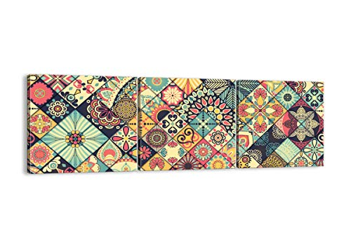 Cuadro sobre lienzo - Impresión de Imagen - flores mosaico - 150x50cm - Imagen Impresión - Cuadros Decoracion - Impresión en lienzo - Cuadros Modernos - Lienzo Decorativo - CA150x50-3815