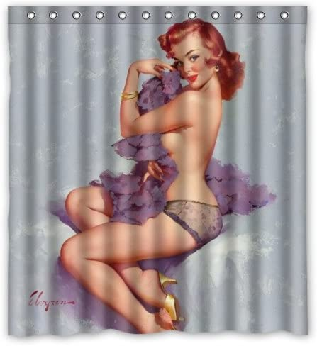 Naked girls can Amazon Com Funny Kids Home Sexy Bathroom Art Shower Curtain Naked Girl On Bed Vintage Retro Pin Up Girls Body Art Work Canvas Painting Style Waterproof Polyester Fabric 66 W X72 H Rings Included