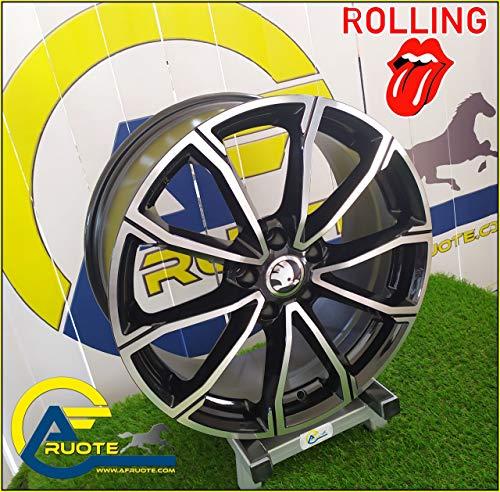 Rolling 1 Llantas de Aleación Ece NAD 8 18 5X112 46 57,1 Seat Ateca Leon Skoda Karoq Kodiaq Negro Brillante Diamante