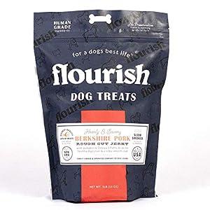 Flourish Pets Rough-Cut Dog Treats, Healthy Dog Training Chews, Berkshire Pork Jerky (1 Pound)