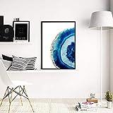 Lunderliny L'Aquarelle Bleue Agate Gems Affiche Décorative Murale Résidence Artiste Peinture Toile Peinture Photo Impression 40x60cm