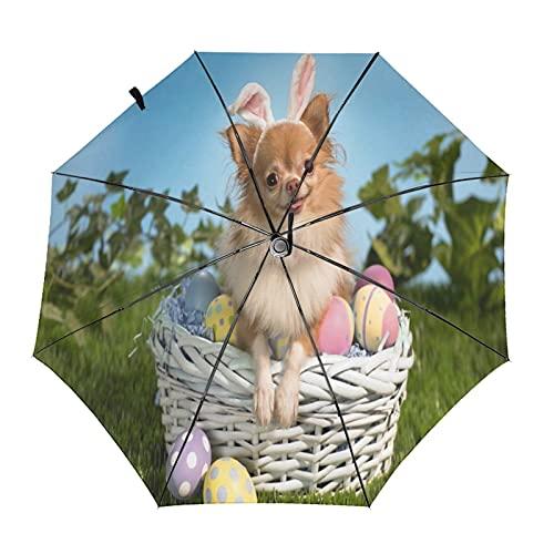 Niedlicher Regenschirm mit Hunde- und Osterei-Motiv, faltbar, tragbar, kompakt, leicht, automatisches Design und hohe Windbeständigkeit