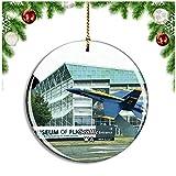 Museo de Vuelo de Seattle Washington Estados Unidos Decoración de Navidad Árbol de Navidad Adorno Colgante Ciudad Viaje Colección de Recuerdos Porcelana 2.85 Pulgadas