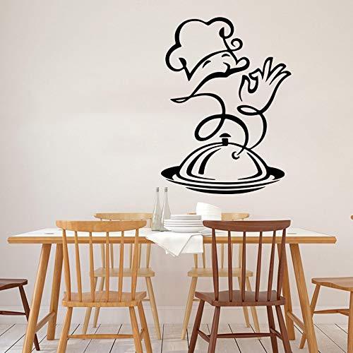 80x60cm (Anpassa namn och färg) Kockväggklistermärke Restaurang Restaurang Kök Kock Matlagning Induktionshäll Väggdekor Restaurang Fat Vinyl Heminredning
