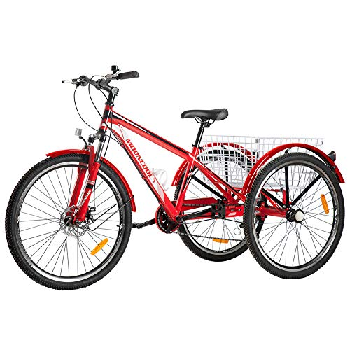 Slsy Adult Mountain Tricycle, 7 Speed Three Wheel Bike, 24/26 Inch Adults Trikes for Seniors with Shopping Basket, Exercise Men's Women's Tricycles (Electric Red, 26'' Tire 7-Speed)