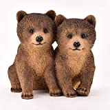 MAISONICA Figura decorativa de oso marrón con diseño de cachorros de 24 cm