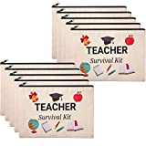 10 Pieces Teacher Gifts Bag Cosmetic Bags Teacher Makeup Pouch Pencil Bag Travel Toiletry Case Teacher Survival Kit Bag with Zipper for Teacher Appreciation Gifts (7.87 x 5.71 Inches)
