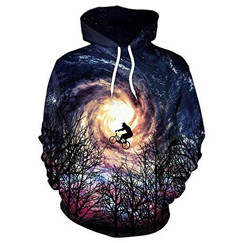 OOFAN Homme Sweats à Capuche Pull Unisex 3D Prints Hoodie Sweatshirt Forêt Équitation Ciel étoilé Patterned,A,XL