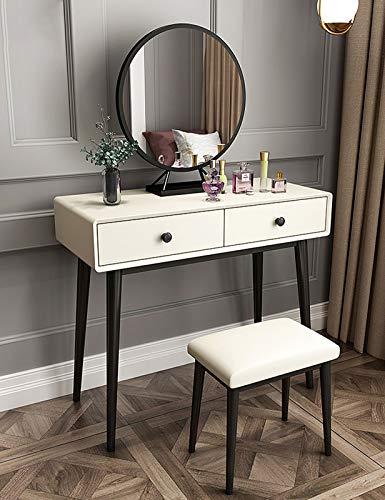MYAOU Schminktisch mit Spiegel und Stuhl, weißer Schminktisch mit Schmuckschubladen Moderner Waschtisch für Schlafzimmer Kommode