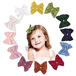 Makone 24pcs Hair Bows Clip Toddler Bows Baby Girl Hair Bows for Girls Clips Accessories for Little Girls Infants small hair bows