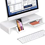 Foldable Monitor Stand Riser, Computer Laptop Riser Shelf with Organizer Drawer, Adjustable Length, Speaker TV PC Laptop Computer Screen Riser Desk Organizer, EURPMASK(White)