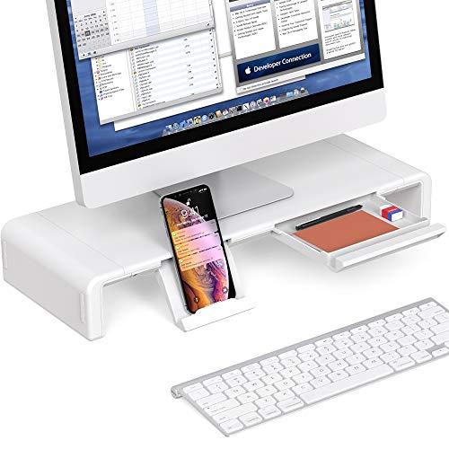 Foldable Monitor Stand Riser, Computer Laptop Riser Shelf with Organizer Drawer, Adjustable Length, Speaker TV PC Laptop Computer Screen Riser Desk Organizer, EURPMASK(White)