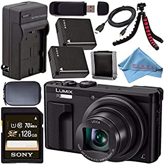 Panasonic Lumix DMC-ZS60 Digital Camera (Black) DMC-ZS60-K + DMW-BLG10 Lithium Ion Battery + External Rapid Charger + Sony 128GB SDXC Card + Small Case + Flexible Tripod Bundle
