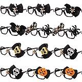 Gejoy 12 Packs Halloween Glasses Costume Frames 3D Novelty Eyeglasses Halloween Party Props Funny Glasses for...