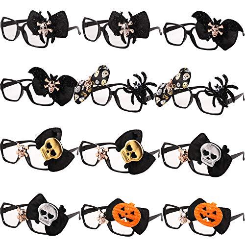 12 Paquetes de Marcos de Disfraces de Gafas de Halloween Anteojos de Novedad 3D Accesorios de Fiesta Gafas Divertidas para Adultos Niños Fotos Fotografía Talla Única para Mayoría (Estilo D)