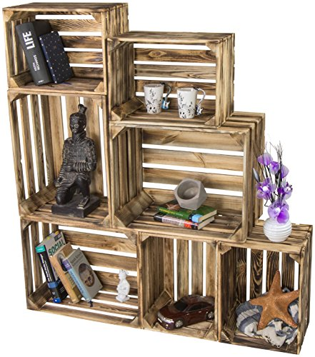 LAUBLUST 7er Set Vintage Holzkisten - Kisten in 2 Größen, 50x40x30cm / 40x30x25cm, Geflammt, Unbenutzt | Möbel-Kiste | Wein-Kiste | Obst-Kiste | Apfel-Kiste | Deko-Kiste aus Holz