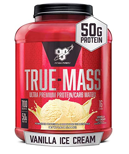 BSN TRUE-MASS Weight Gainer, Muscle Mass Gainer Protein Powder, Vanilla Ice Cream, 5.82 Pound