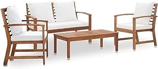 vidaXL Madera Acacia Maciza Muebles de Jardín 4 Piezas con Cojines Mobiliario Muebles Terraza Decoración Casa Hogar Bricolaje Balcón Sillas Mesas