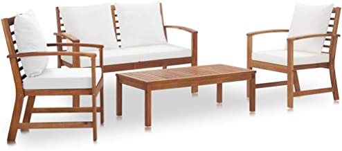 vidaXL 4 Piece Solid Acacia Wood Garden Lounge Set with Cushions Outdoor Patio Backyard Table Chair Bench Seat Furniture