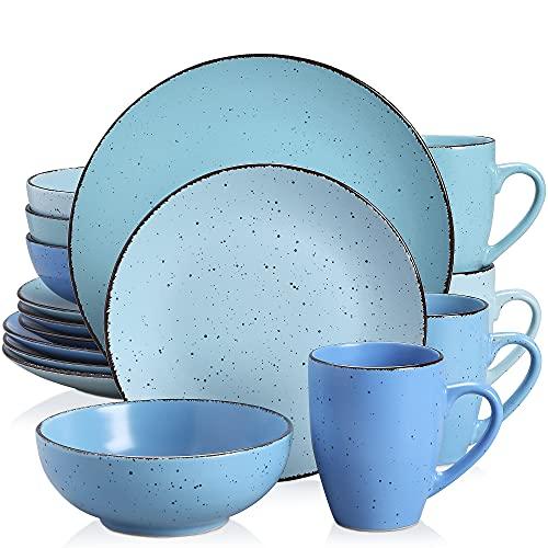 vancasso MODA Servizio da tavola, set combinato 16 pezzi in porcellana con piatto piano, piatto da dessert, ciotola di cereali e tazza, servizio da tavola azzurro blu scuro acqua blu mare, servizio 4