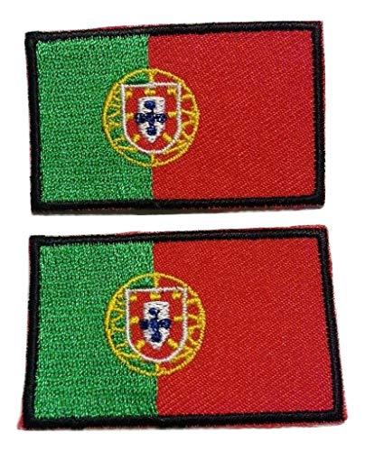 b2see Iron on Bügel Aufnäher Fahne Patches Flicken Aufbügler Bügelbild Applikation Sticker-Ei Flagge Portugal Lissabon Set 2 STK jeweils 4,8 x 3 cm