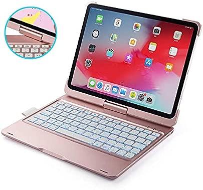 IPad-Tastaturh lle f r iPad Pro 11 2018 D nn amp Leicht 360 drehbar Drahtlos BT 7-farbig beleuchtet iPad-H lle mit Tastatur Rosegold Schätzpreis : 48,93 €